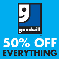 Goodwill 50% off EVERYTHING sale on Friday, May 25th