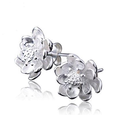 Women 925 Sterling Silver Jewelry Elegant Crystal Ear Stud Earrings Lotus Flower