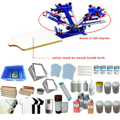 4 Color Silk Screen Printing Simple Press Tools Kit With Printing Materials