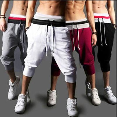 Mens 3/4 Length Pants (Mens 3/4 Calf Length Jogger Shorts Pants Sports Trousers Cropped Sweatpants Gym )