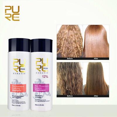 Best Brazilian Keratin Straighten PURC Hair Repair Kit Treatment + (Best Straightening Shampoos)