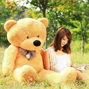 GIANT 120CM 47'' BIG CUTE Brown PLUSH TEDDY BEAR HUGE SOFT 100% PP COTTON TOY