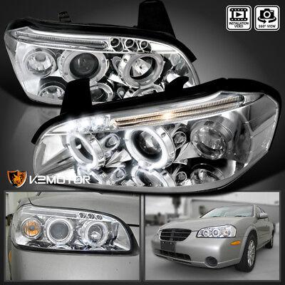 2001 Nissan Maxima Headlights (Chrome LED Halo Projector Headlights For 2000-2001 Nissan Maxima )