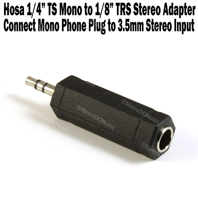 """Hosa 1/4"""" TS Mono Female to 1/8"""" TRS Stereo Male Adapter 3.5mm Phone NEW"""
