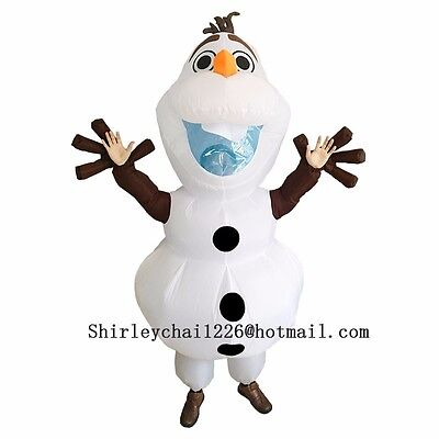 Olaf Halloween Snowman Inflatable Olaf Costume for Adult Fancy Suit White - Olaf Inflatable Halloween