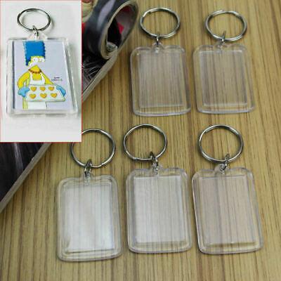 5x Transparent leere Acryl Foto Framen Keyring Keychain DIY Schlüsselanhänger