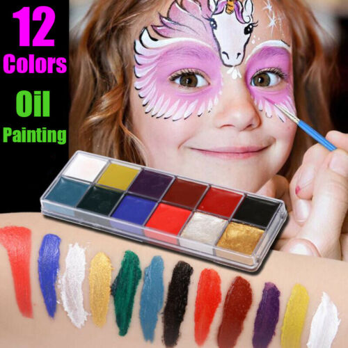 12 Colors Face Body Art Painting Body Paint Oil Painting Tattoo Halloween Makeup Ebay