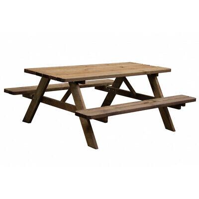 Verena - Tavolo da picnic con 2 panche integrato in legno massello robusto.