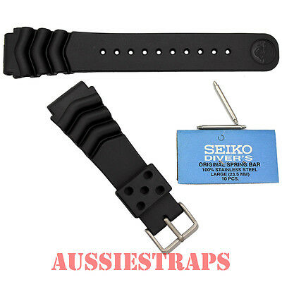 SEIKO Z22 with FAT Springbars Rubber Divers Watch Band Strap 22mm Wave Vent 6309