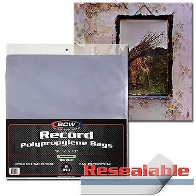 100 BCW Record Sleeves Resealable Plastic Bag Outer 33 RPM LP Covers Album