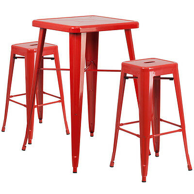 23.75 Industrial Restaurant Table Set In Red Metal Wbar Table 2 Stools