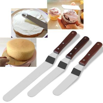 3pcs Angled Straight Spatula Icing Cream Spread Cake Decorating Cutter Set Q