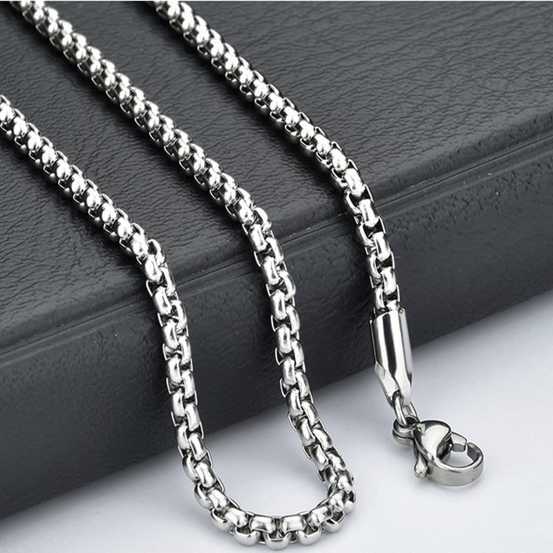 Jewellery - Fashion Unisex 316L Stainless Steel Round Box Chain Necklace Hot Gift