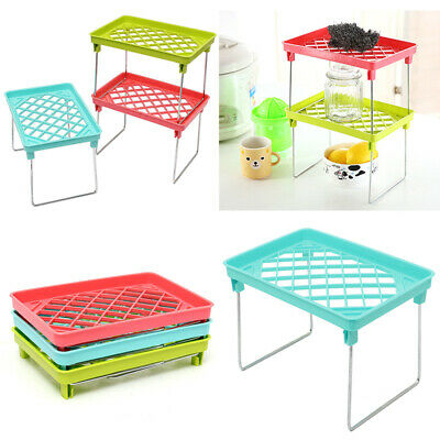 Stackable Kitchen Home Folding Storage Rack Shelf Bathroom O