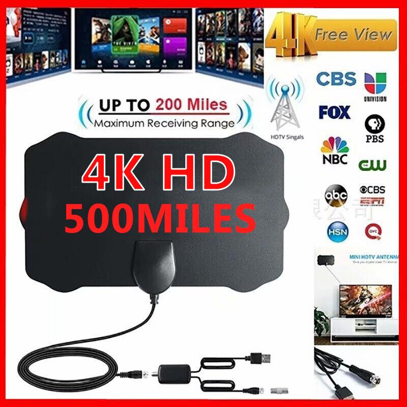 500 Mile Range TV Antennas for Digital TV Indoor W/Amplifier