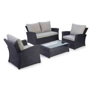 4 Piece Wicker Patio Furniture Set - Grey - Perfect for Condos