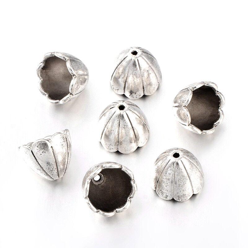 50pc Tibetan Style Five Petal Flower Pendants Charms Lead Free Antique Silver
