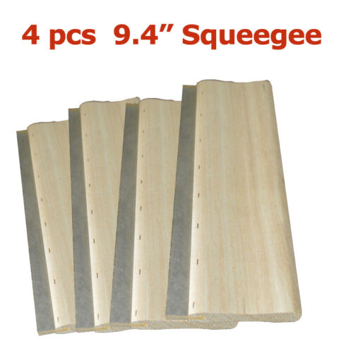 "4 pcs 9.4"" Silk Screen Printing Squeegee Square Blade Wood Handle Ink Scraper65D"