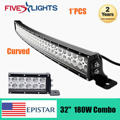 Curved 32inch LED Slim Light Bar 180W Combo Beam Roof Boat UTE Chevy Ford 150