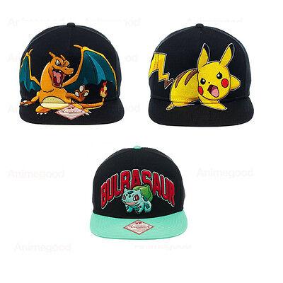 Pokemon Pikachu, Charizard & Bulbasaur Official Genuine ADULT Snapback Cap *NEW*