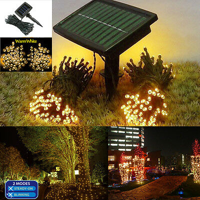 100 LED Solar Power String Fairy Warm White Light Outdoor Garden Lawn Lamp Path