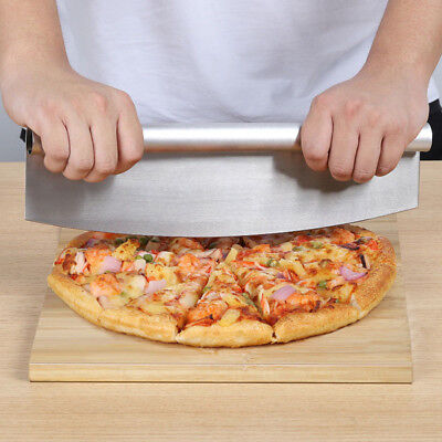 "Stainless Steel Pizza Cutter 13.8"" Length Sharp Rocker Blade"
