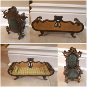 Vintage miniature couch and chair decor