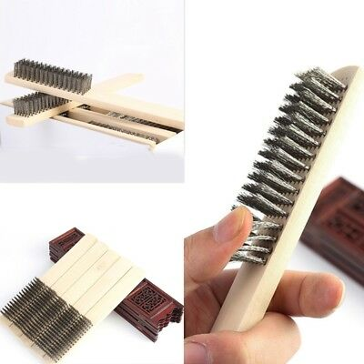 Stainless Steel Wire Cleaning Brushes Wood Handle Wire Scratch Dust Brush 210mm