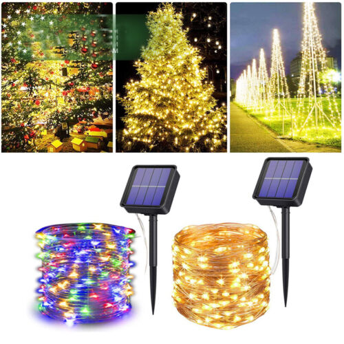 100//200 LEDs Solar Fairy String Lights Copper Wire Outdoor Waterproof Xmas Decor