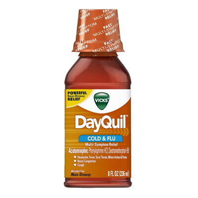Vicks Dayquil Cold - Flu Relief Liquid, 8 oz (Pack of 4) ()