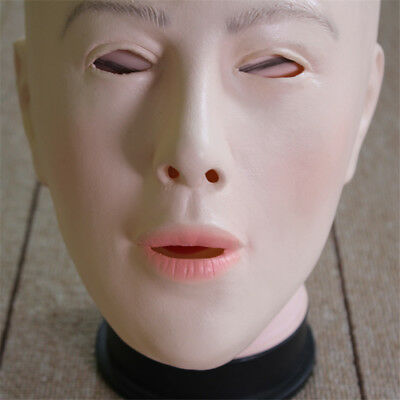 Female Face Latex Mask Fancy Dress Halloween Costume Living Doll Crossdresser - Halloween Female