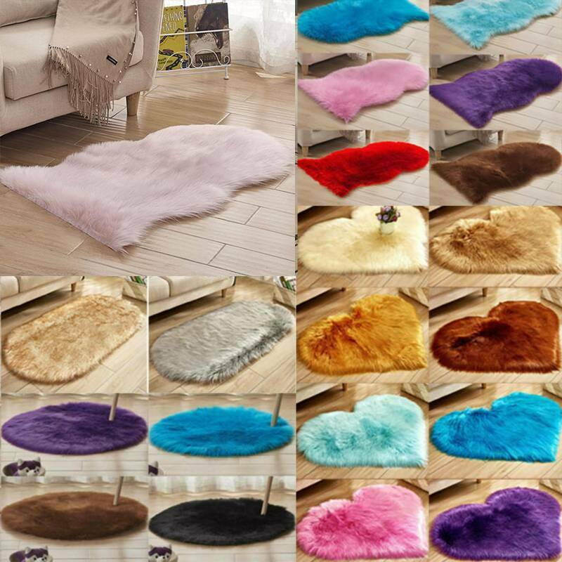 Irregular Fluffy Faux Fur Small Carpet Bedroom Sheepskin Sof