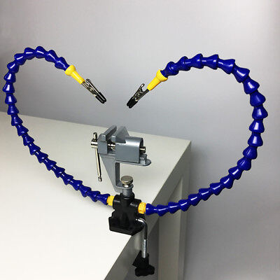 Flexible Arm Two Hands Soldering Iron Holder Stand Clamp Vise Clip With Plier