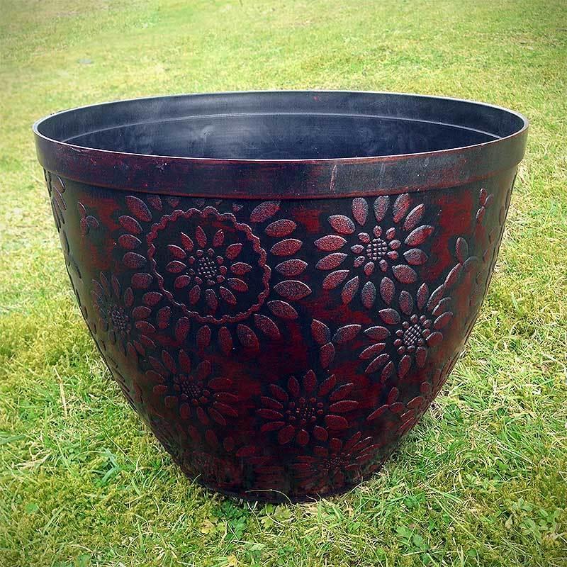 2 x Large Plastic Round Chengdu Garden Plant Pots Planter Black Copper Pot 36cm