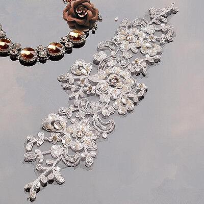 Vestido de Novia con Cuentas Encaje Aplique Floral Noche Bailando Craft Detalles