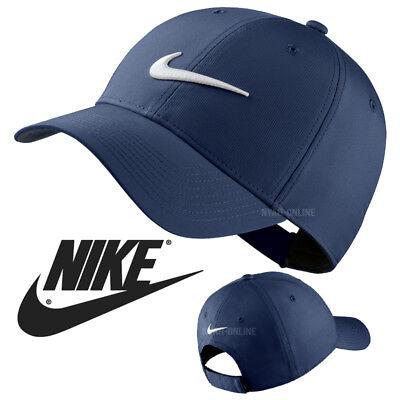 NEW Nike SWOOSH BASEBALL CAP NAVY PLAIN GOLF LEGACY 91 TECH FITTED PEAK HAT