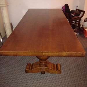 Mahogany Table with two Hard Maple Pedestals