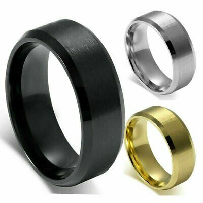 8mm Stainless Steel Ring Womens Men's Band Silver/Gold/Black Wedding Engagement Fashion Jewelry