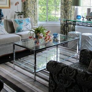 quality chrome + glass coffee table