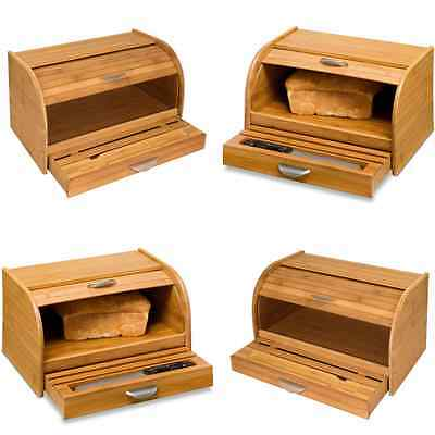 Vintage Wood Bread Box Wooden Storage Keeper Container Kitchen Food Bamboo Roll
