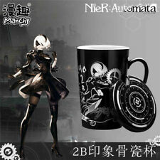 New Game NieR Automata YoRHa No.2 Type B Cup Ceramic Anime Mug With Lid Spoon