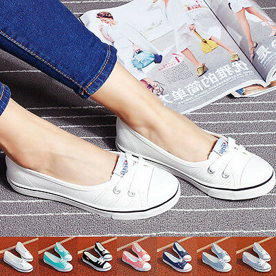 Chic Women Lady Low Top Casual Sneakers Breathable Flats Canvas Shoes Summer US