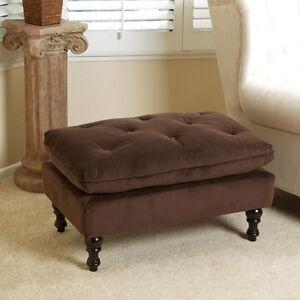 Royal Design Brown Microfiber Ottoman Footstool