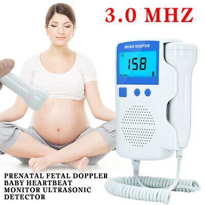 Lcd Prenatal Fetal Doppler Baby Heartbeat Detector Ultrasonic Monitor 3.0 Mhz