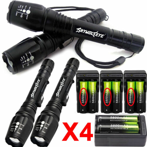 4 Sets 60000LM T6 Tactical LED Zoomable Flashlight Torch Lig
