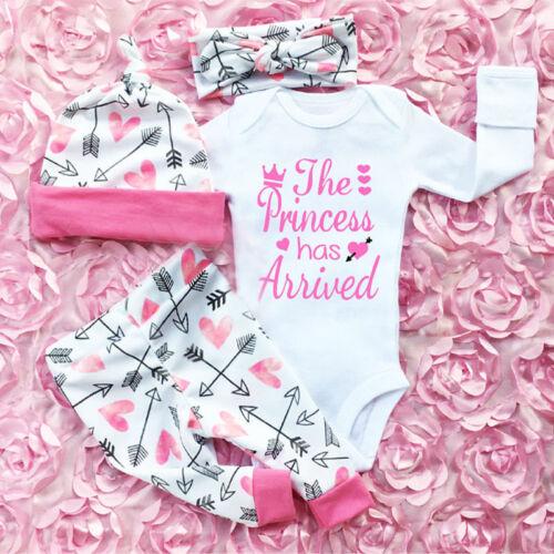4PCS Newborn Infant Baby Girl Outfits Clothes Set Romper Bod
