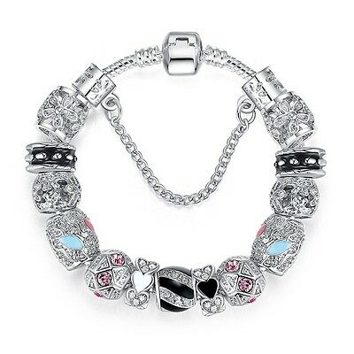 (New Sterling Silver Charm Bead Bracelet With Crystal Stones FAST FREE SHIPPING)