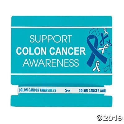 12 Blue Ribbon ~ Support Colon Cancer Awareness Thin Rubber Bands White & Blue (Cancer Awareness Rubber Bracelets)