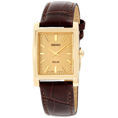 Seiko Core Gold Dial Leather Strap Men's Watch SUP896