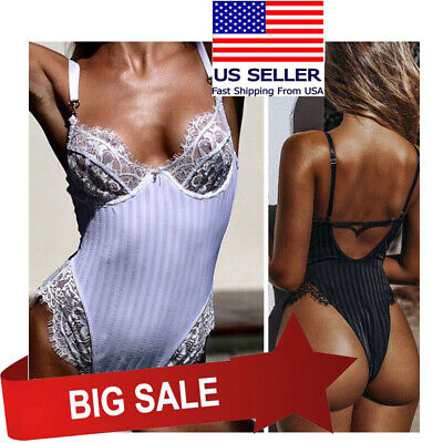 Floral Lace & Striped Underwire Teddy Boudoir Underwear Bodysuit Lingerie M-3XL